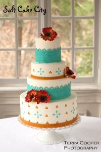 Salt Cake City's Orange & Teal Wedding Cake Gallery