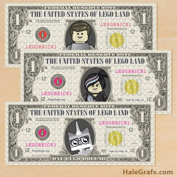 lego movie money dollars FREE Printable LEGO Movie Play Money