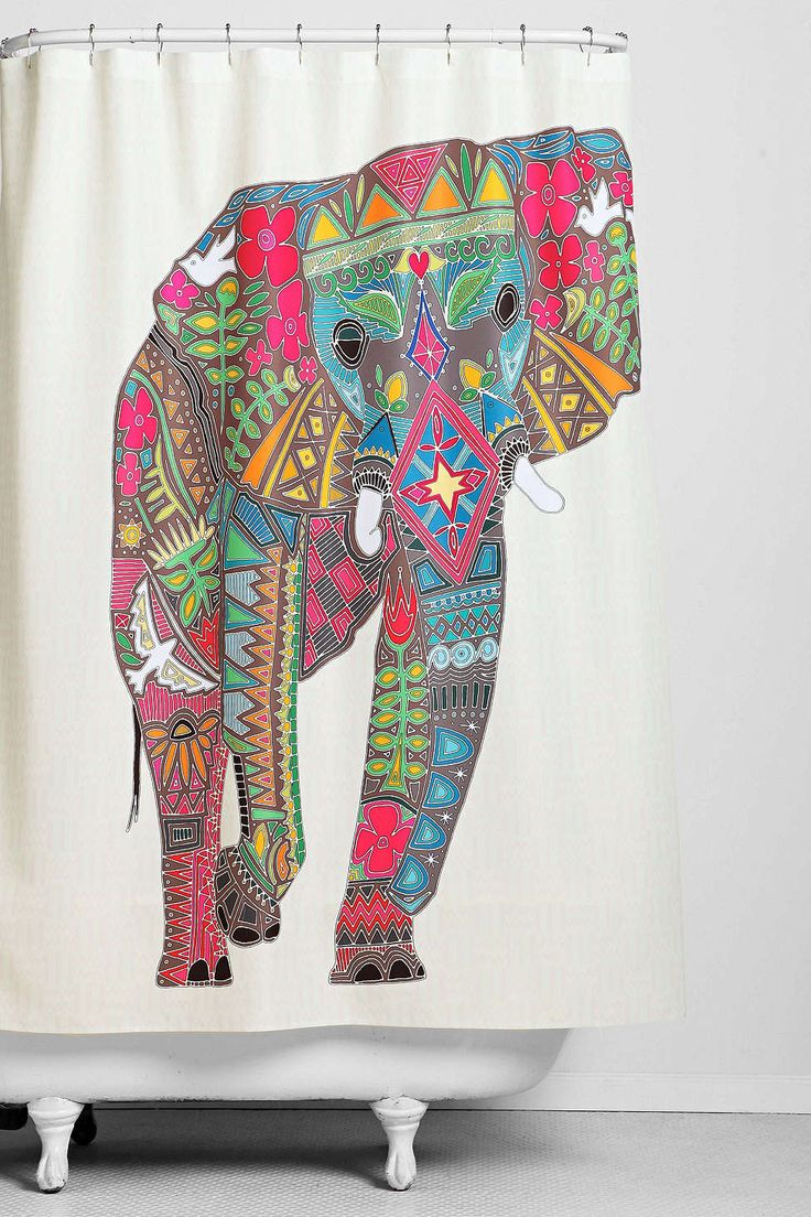 Colorful shower curtains - Sharon Turner For Deny Painted Elephant Shower Curtain