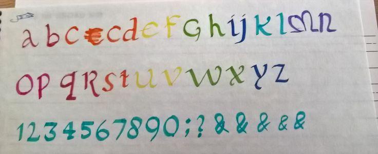 Het alfabet in cursief caligraphy