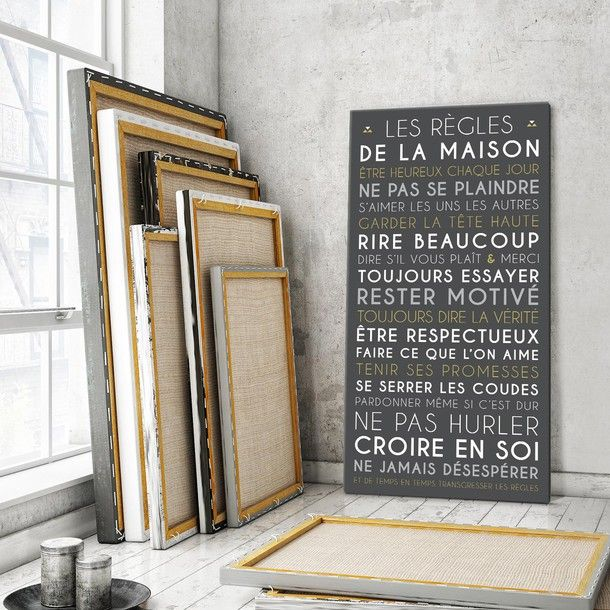 Les Règles de la Maison, fond carbone, tableau décoratif, Mes Mots Déco