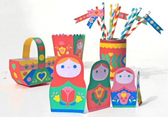 Printable DIY Russian stacking dolls party decorations! Matryoshka theme party