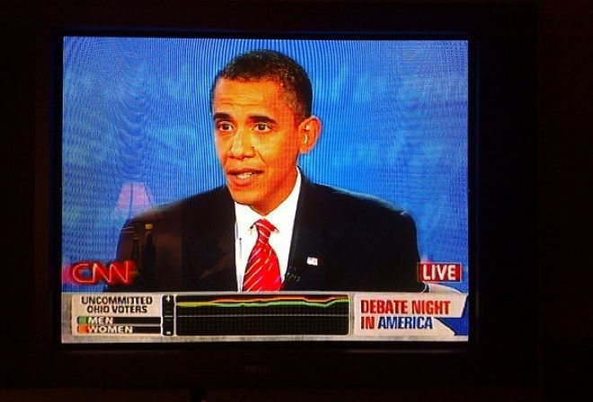 During the 2008 presidential debates, CNN unveiled their latest onscreen gimmick: A real-time graph depicting the averaged reactions of 32 supposedly undecided voters, who expressed favor or disfavor by turning handheld dials as they watched.