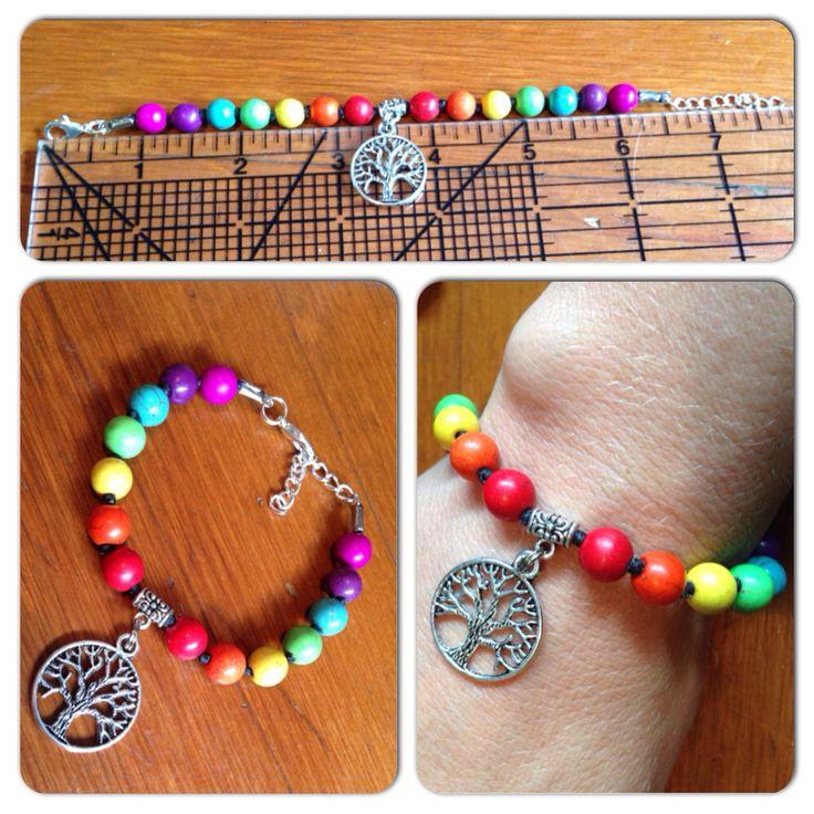 Stone Chakra bracelet with a tree of life charm.