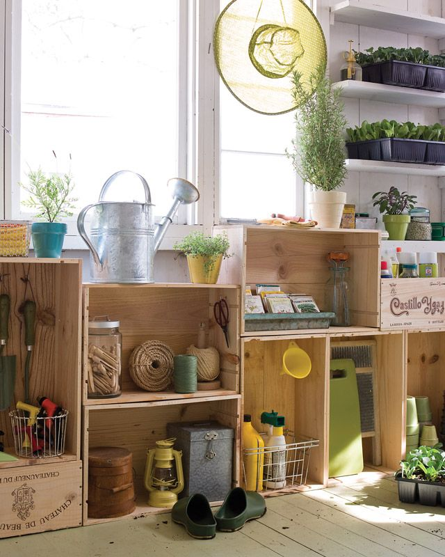 Garden shed wine crate cabinets