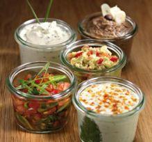 Les Dips ou petites sauces apéritifs de Clémence Rillettes de thon, Artichauts - haricot - Fromage frais – figues - pignons