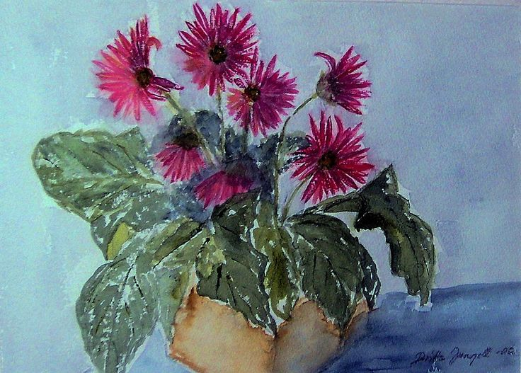 """Gerbera"" Original watercolor painting by Britta Bergström-Jungell."