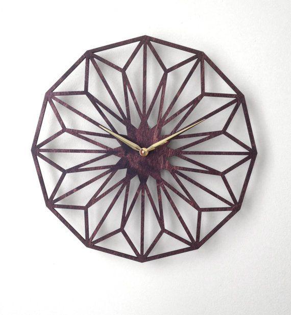 Desert Bloom Large Wall Clock Laser Cut Modern Minimal