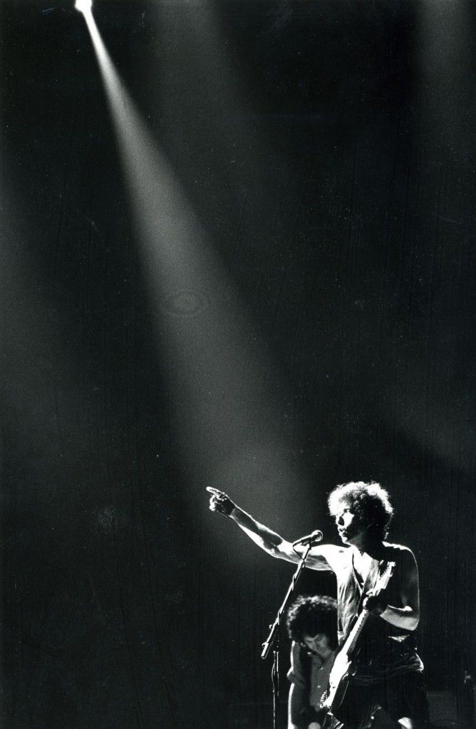 Bob Dylan in concert at the Metrodome, June 27, 1986.