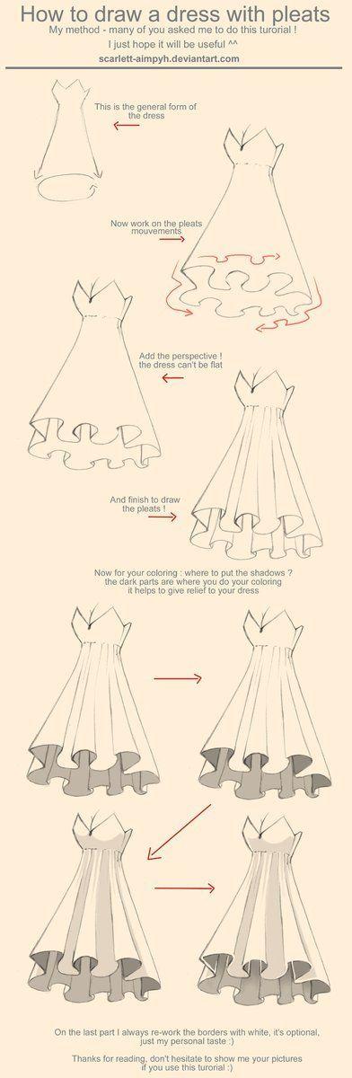 Wie zeichnet man ein Kleid mit Falten Tutorial – -…