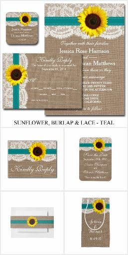 The Rustic Sunflower Wedding Collection - Teal. This rustic country wedding set / stationary / suite may include: Wedding invitation cards, wedding envelopes, wedding RSVP Cards, wedding address labels, save the dates, wedding programs, wedding thank you cards, rehearsal dinners, stamps and more matching wedding products. Click image to see all available matching items.
