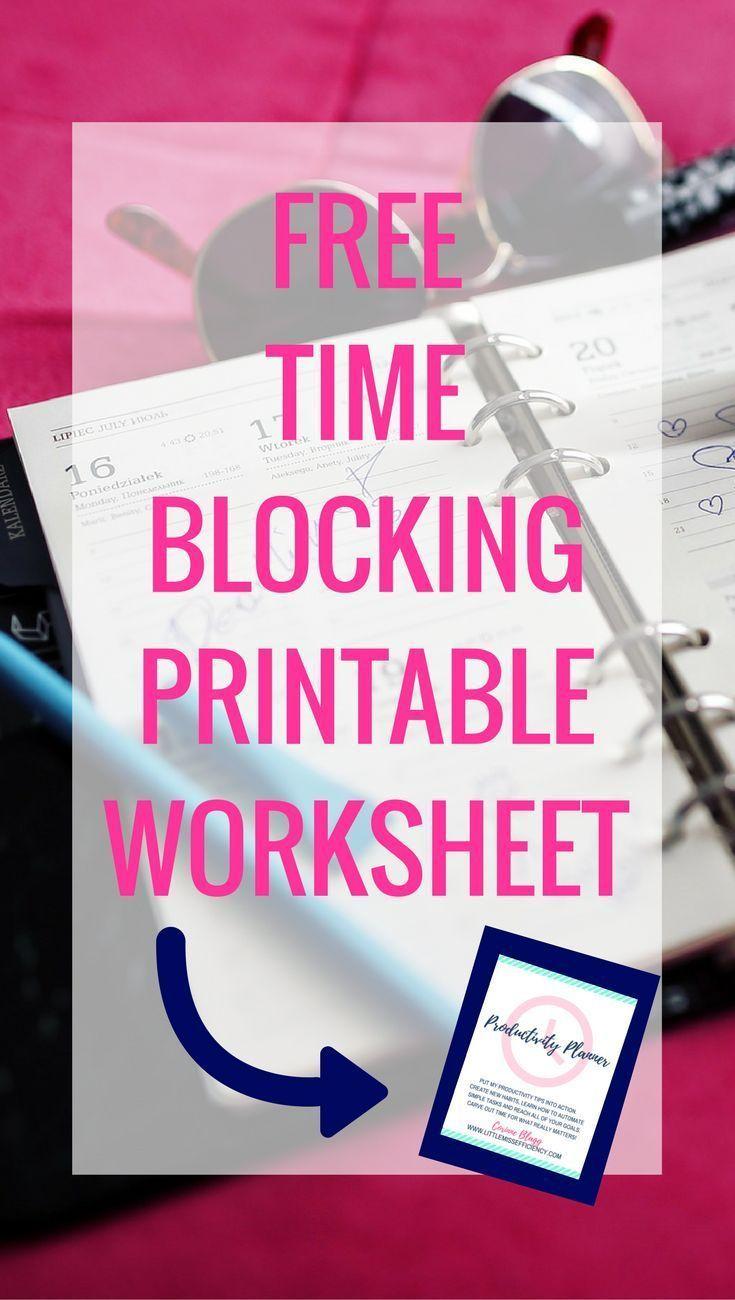 Free Time Blocking Printable Worksheet Time Management Printable   Time Management for Moms   Time Management at Work   Time Management Strategies   Time Management Planner   Time Management Activities   Time Management Schedule   Time Management At home