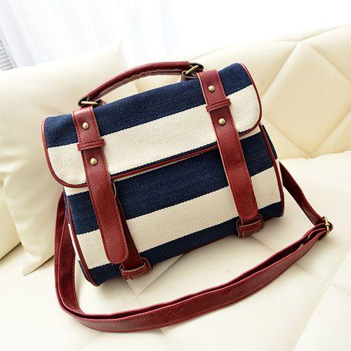 Image of [grzxy6200042]Navy Style Retro Stripe Print Motorcycle Bag Handbag