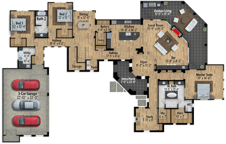 Impressive Exclusive Tuscan House Plan with Game Room - 430033LY floor plan - Main Level