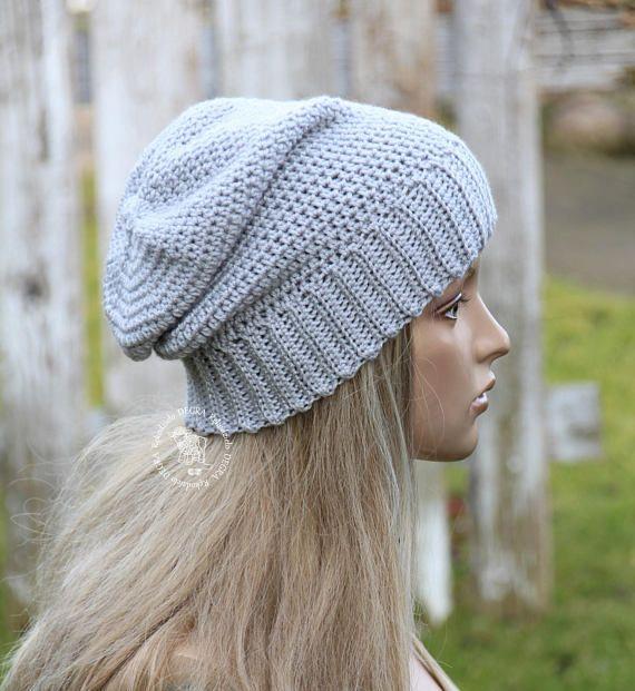 Gray crochet Hat Slouchy grey hat Womens beanie hat Grey