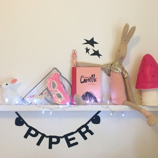 Girl's room shelf display with Woodland rabbit night light, Sonny Angel doll, Maileg bunny and Heico pink toadstool lamp, via piperandpoppies.com