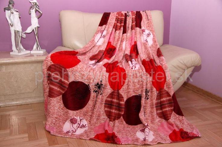 Červeno hnedá deka s kruhmi