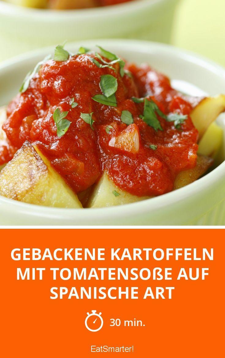 Gebackene Kartoffeln mit Tomatensoße auf spanische Art