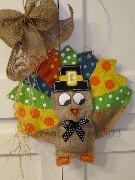 Thanksgiving Turkey Burlap Door Hanger Door By Nursejeanneg, $28.00