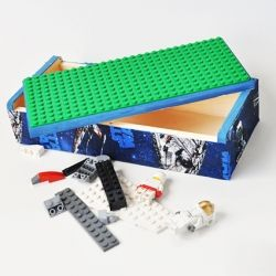A lego box for a kid on the go. Pack up your favorite legos and play with them on top of the box!