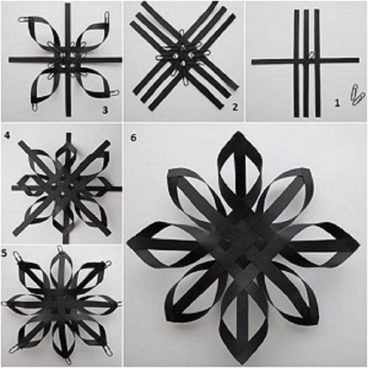 инструкция по созданию объемной снежинки из полос бумаги
