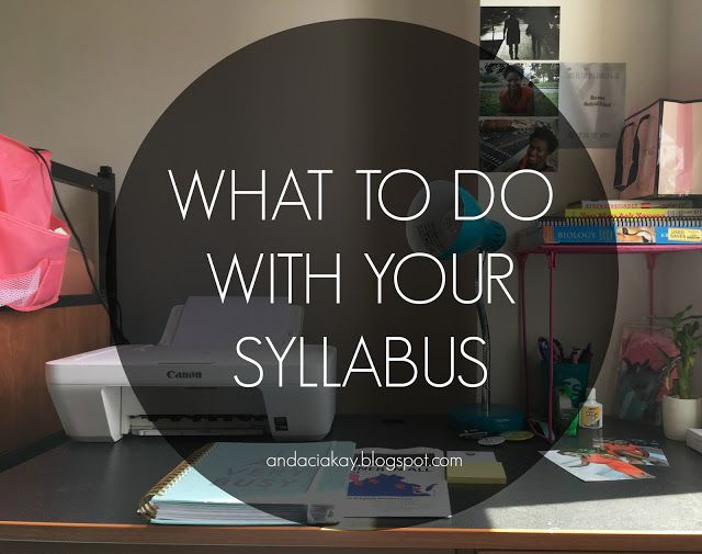Sharing tips on how to tackle syllabus week