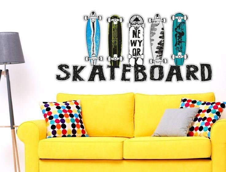 Nice Wandsticker Farbige Skateboard Decks mit Schriftzug Skater Motiv zum Kleben Skate Wandtattoo Sport Wandaufkleber