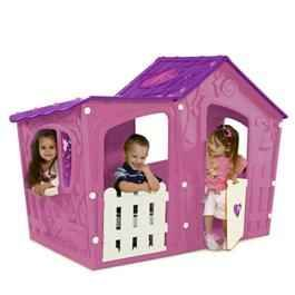 The Keter Magic Villa Pink and Purple Childrens Plastic Playhouse will provide your children with hours of fun in this fantastic Magic House This fun brightly coloured playhouse is a unique style playhouse which constructed from injection moulded plastic and includes a stable door and windows on each side.