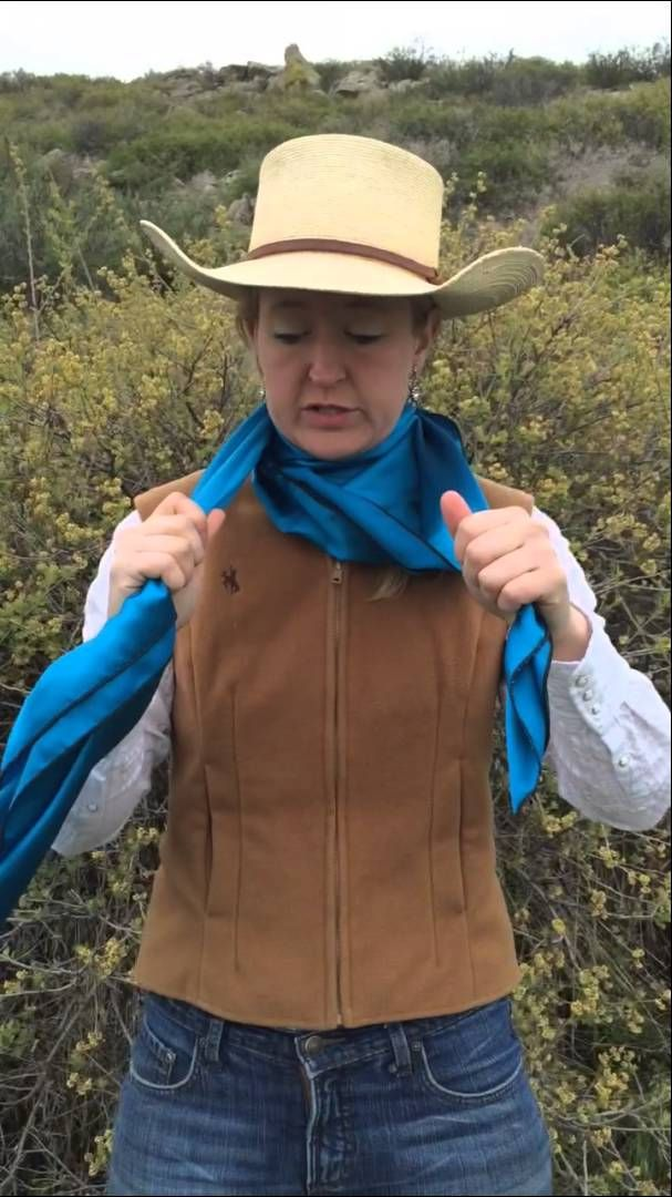 How To Tie A Windsor Tie Knot In Your Wild Rag By Flat Hat Rags Girl Ama Scarf Women Fashion Western Style Outfits Cute Cowgirl Outfits