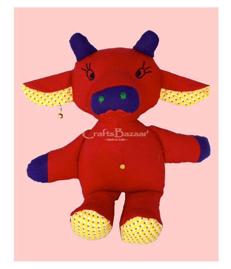 A very exclusive design toy cow created, high quality, child safe, 100 percent washable, filled with love and 100 percent staple fiber. This fluffy toy is in vibrant and striking color that will attract the attention of your little one. Flawless sleeping toy for your child and a must in your road trips, put in the rear table tray of car. It is red, yellow and blue in color. #artsandcrafts #craftsofindia #indianheritage #handmade #craftsbazaar #madeinindia #artisansonline