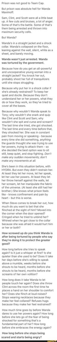 poor wanda :( but steve and the gang would do everything they could to help her. and nat would come straight over because she knows what it's like.