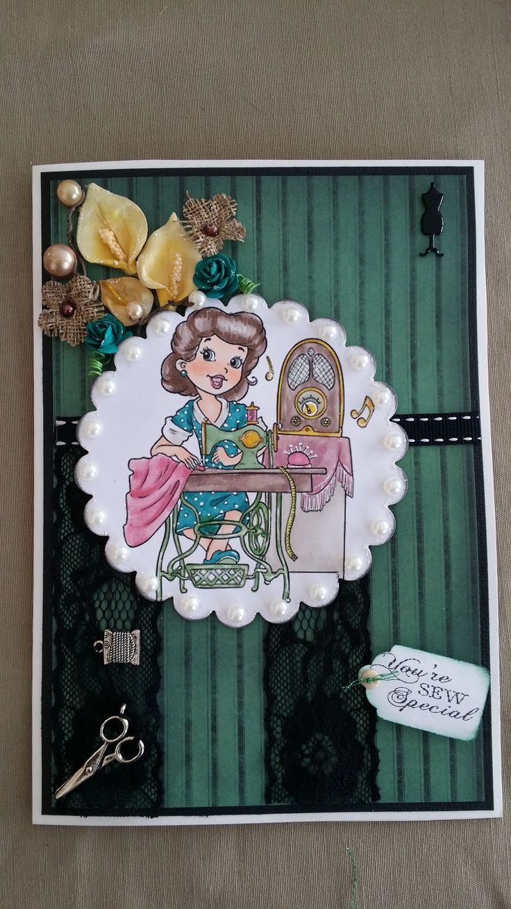 Challenge 29 - Sketch. Paper Shelter Vintage Seamstress stamp, lace and charms, dress form brad