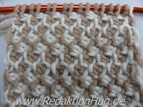 Tunisian Crochet - honeycomb pattern in rows (IN GERMAN - If you are familiar with Tunisian Crochet you can watch this video to learn this stitch... The video is very good... Deb)