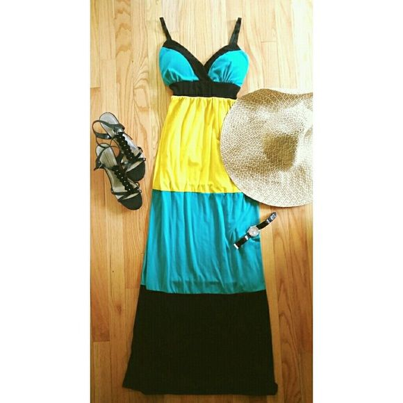Yellow, black and turquoise maxi dress Long maxi dress with adjustable straps and ties in the back. Great for summer very like and cozy ??!! Is a size medium but could also fit large since material is stretchy.  ✔Open to offers ✔Will lower shipping Allison Brittney  Dresses Maxi