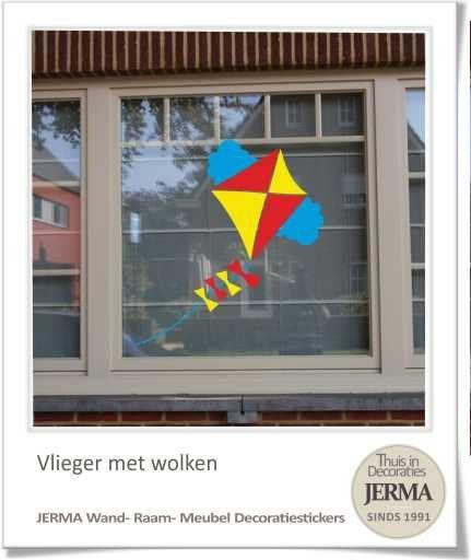 #Vlieger met lange staart en strikjes, als #wanddecoratie, raamdecoratie sticker. Vrolijk de ramen of muren eenvoudig op met deze fel gekleurde decoratie sticker.
