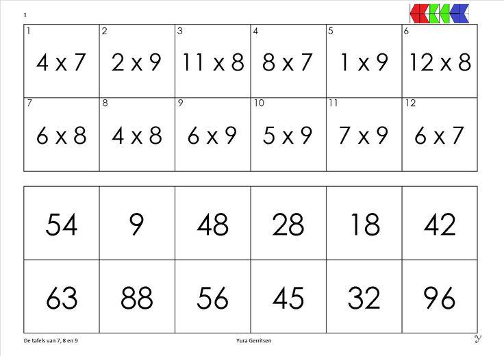 tafels van 7-8-9