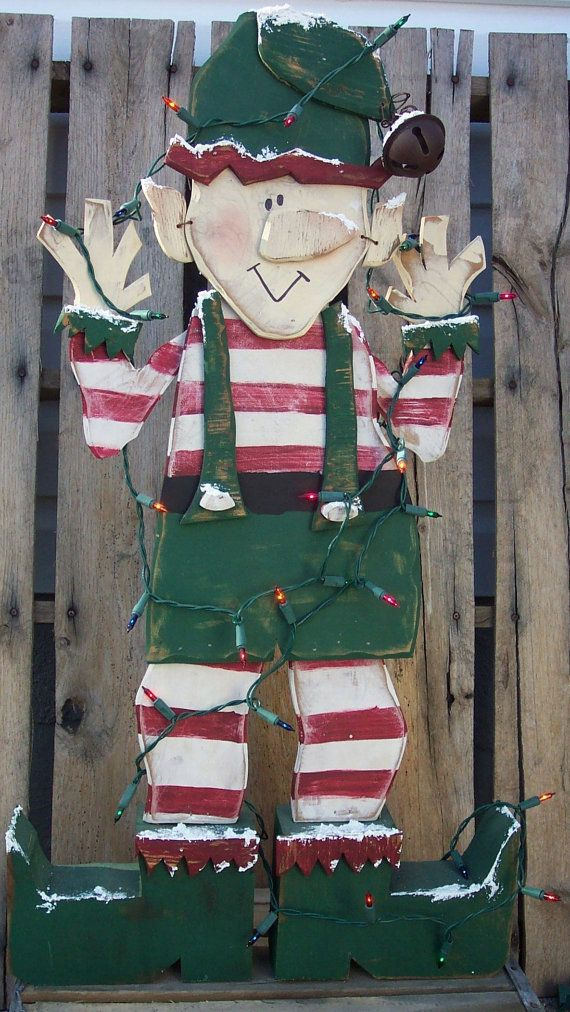 Santa's Christmas Elf Wood Craft Pattern for Winter Lighted on Etsy, $8.50