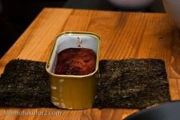 use your spam can as the mold! genius. i can never find my musubi mold when i want it.