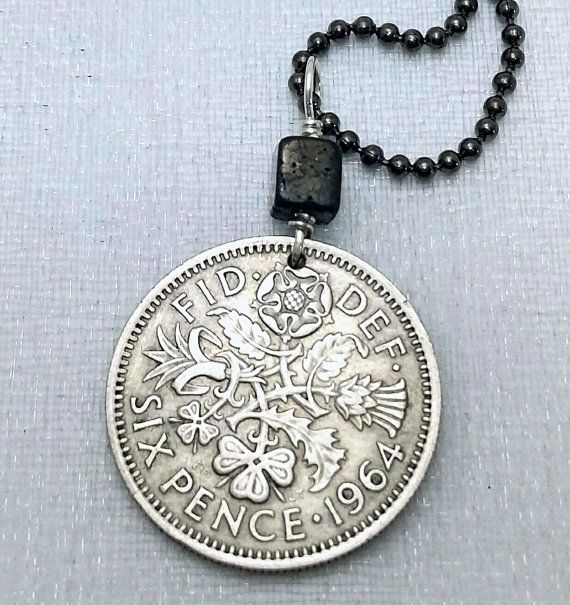 Vintage six pence coin necklace, with the English tudor rose, Scottish thistle, Irish shamrock and Welsh leek  - lucky sixpence - drilled with