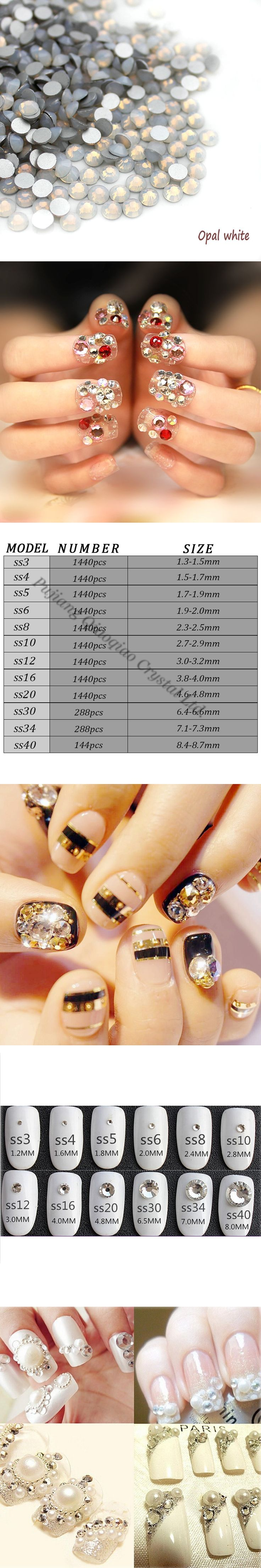 Super Shiny SS3-SS34 White Opal Glitter Non Hotfix Opal Color 3D Nail Art Decorations Flatback Rhinestones Strass Stones