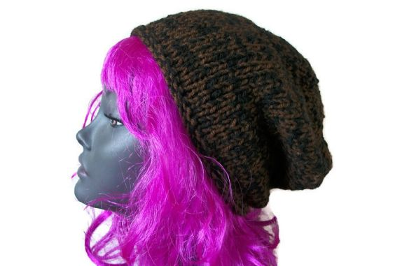 Brown/Black Beanie Hat, Chunky - Hand Knitted