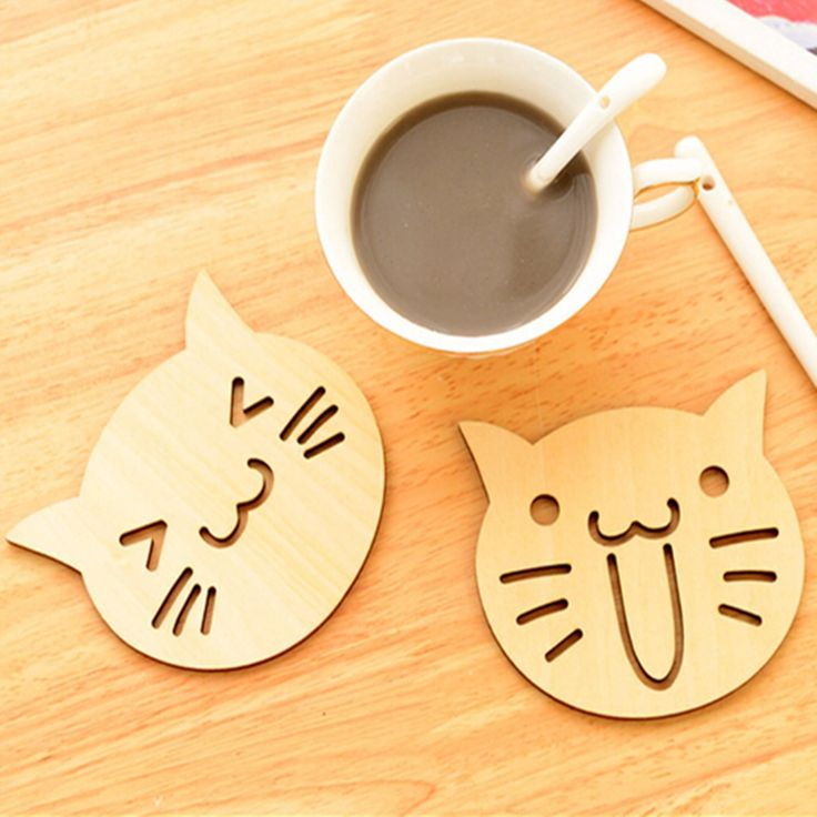 Милый кот сова деревянные резные подставки чашка кружка коврик пьет кофе держатель чай кухонный стол декор Placemat(China (Mainland))