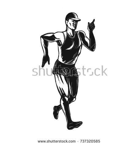 Scratchboard style illustration of an athlete race  walker walking or racewalking, a long-distance discipline within the sport of athletics done on scraperboard on isolated background.  #racewalking #scratchboard #illustration