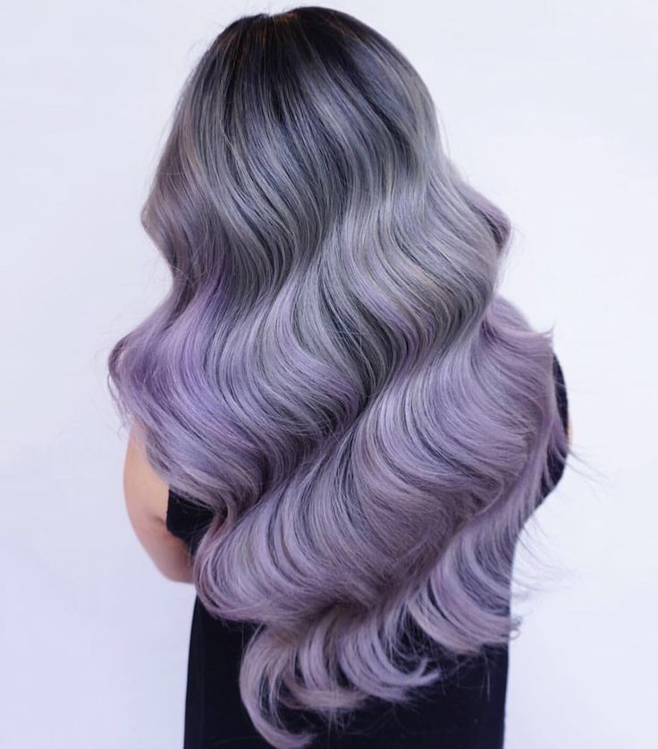 Gorgeous smoky gray hair color with purple ombre hair and dramatic wavy hair by Eva Lam Instagram.com/hotonbeauty