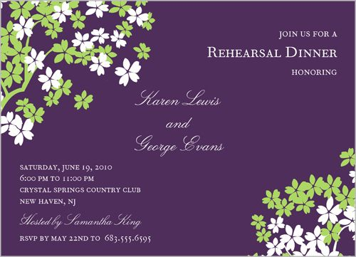 Arbor Blossom Eggplant Rehearsal Dinner Invitation