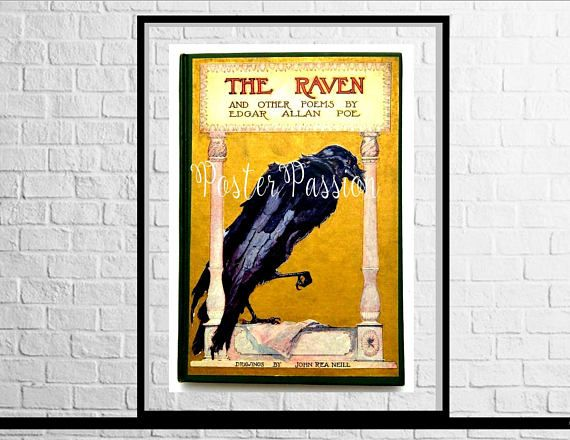 The Raven antique book cover wall art image download Edgar