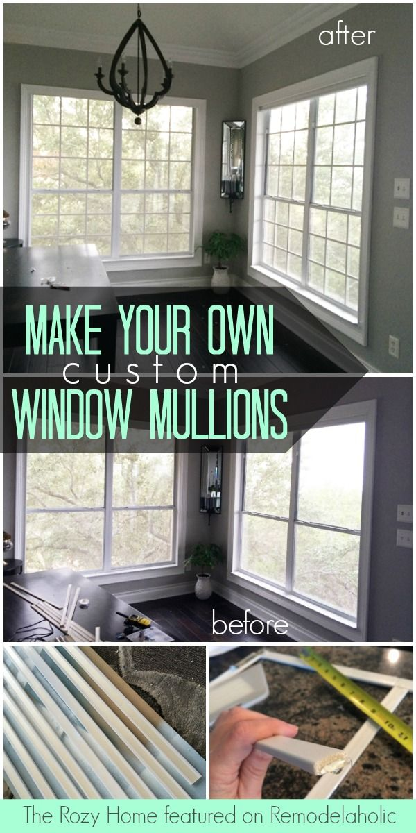 Make your own window mullions (window grids) for under $10 each! The Rozy Home featured on @Remodelaholic