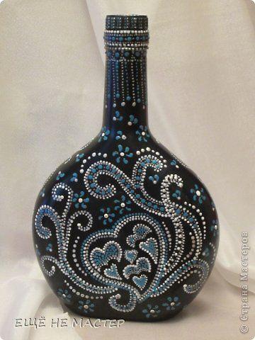 Декор предметов Роспись Бутылка  Бирюзовая фантазия  Бутылки стеклянные Краска фото 2