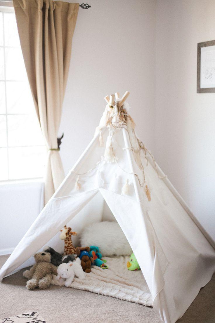 Modern Bohemian Woodland Themed Nursery Teepee Tent