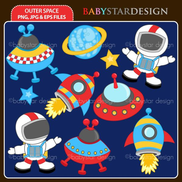 10 graphic elements of outer space theme. Perfect for your party invitations, craft projects, paper products, stationery, scrapbooking, web designs, stickers and many more!